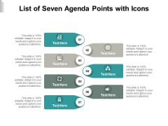 List Of Seven Agenda Points With Icons Ppt PowerPoint Presentation Styles