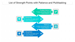 List Of Strength Points With Patience And Multitasking Ppt PowerPoint Presentation Gallery Graphics Tutorials PDF