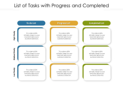 List Of Tasks With Progress And Completed Ppt Styles Aids PDF