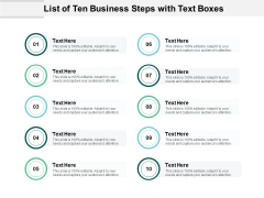 List Of Ten Business Steps With Text Boxes Ppt PowerPoint Presentation Layouts Designs Download