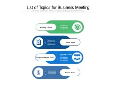 List Of Topics For Business Meeting Ppt PowerPoint Presentation File Background Image PDF
