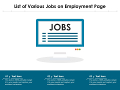List Of Various Jobs On Employment Page Ppt PowerPoint Presentation Inspiration Grid PDF