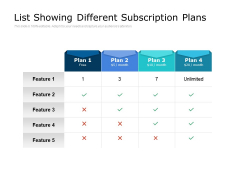 List Showing Different Subscription Plans Ppt PowerPoint Presentation Summary Graphic Images