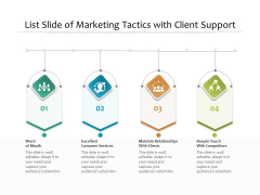 List Slide Of Marketing Tactics With Client Support Ppt PowerPoint Presentation Gallery Graphics PDF