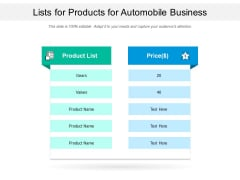 Lists For Products For Automobile Business Ppt PowerPoint Presentation File Ideas PDF