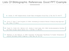 Lists Of Bibliographic References Good Ppt Example