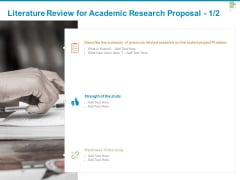 Literature Review For Academic Research Proposal Study Ppt PowerPoint Presentation Model Display