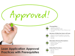 Loan Application Approval Practices With Prerequisites Ppt PowerPoint Presentation Layouts Designs Download PDF
