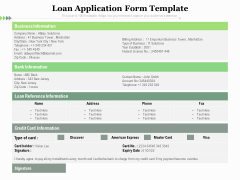 Loan Application Form Template Ppt PowerPoint Presentation File Visual Aids PDF