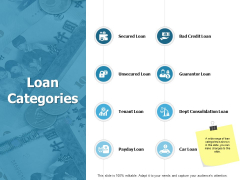 Loan Categories Ppt PowerPoint Presentation Gallery Infographic Template