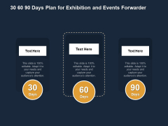 Logistics Events 30 60 90 Days Plan For Exhibition And Events Forwarder Ppt Inspiration Layout PDF