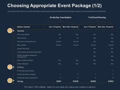 Logistics Events Choosing Appropriate Event Package Ppt Icon Themes PDF