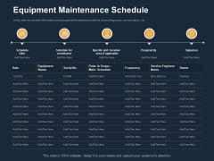 Logistics Events Equipment Maintenance Schedule Ppt Inspiration Graphics Download PDF