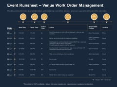 Logistics Events Event Runsheet Venue Work Order Management Ppt Summary Ideas PDF