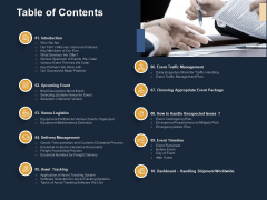 Logistics Events Table Of Contents Ppt Slides Background Image PDF