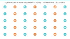 Logistics Operations Management In Supply Chain Network Icons Slide Background PDF