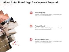 Logo Design About Us For Brand Logo Development Proposal Ppt Icon Clipart PDF