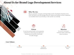 Logo Design About Us For Brand Logo Development Services Ppt Outline Styles PDF
