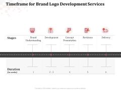 Logo Design Timeframe For Brand Logo Development Services Ppt Model Designs Download PDF