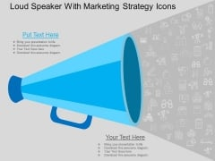 Loud Speaker With Marketing Strategy Icons Powerpoint Template