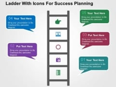 Ladder With Icons For Success Planning PowerPoint Templates