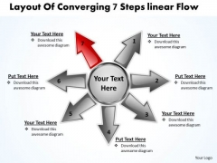 Layout Of Converging 7 Steps Linear Flow Arrows Diagram Software PowerPoint Templates