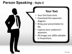 Leader Person Speaking PowerPoint Slides And Ppt Textboxes