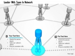 Leader With Team In Network PowerPoint Templates