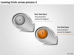 Leaning Circle Arrow Process 2 Flow Diagram Slides PowerPoint