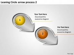 Leaning Circle Arrow Process 2 Manufacturing Flow Chart PowerPoint Templates
