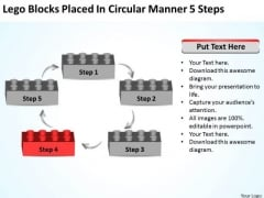 Lego Blocks Placed In Circular Manner 5 Steps Business Plan PowerPoint Template