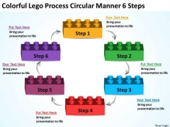Lego Process Circular Manner 6 Steps To Writing Business Plan PowerPoint Templates