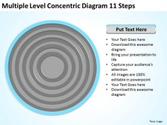Level Concentric Diagram 11 Steps Catering Business Plan Template PowerPoint Slides