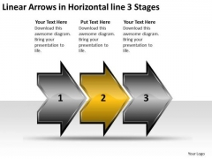Linear Arrows Horizontal 3 Stages Online Flow Chart Creator PowerPoint Slides