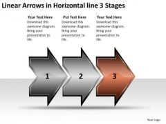 Linear Arrows Horizontal 3 Stages Ppt Proto Typing PowerPoint Slides