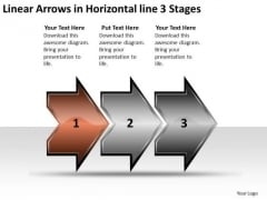 Linear Arrows Horizontal 3 Stages Process Flowchart Examples PowerPoint Slides