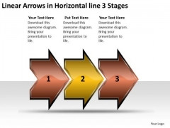 Linear Arrows Horizontal 3 Stages Sample Flow Charts Vision PowerPoint Slides