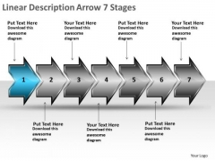 Linear Description Arrow 7 Stages Electrical Drawing Symbols PowerPoint Slides