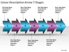 Linear Description Arrow 7 Stages Flow Chart Slides PowerPoint