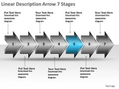 Linear Description Arrow 7 Stages Process Flow Documentation PowerPoint Templates