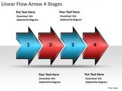 Linear Flow Arrow 4 Stages Chart Slides PowerPoint