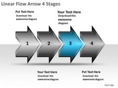 Linear Flow Arrow 4 Stages Ppt Charting Slides PowerPoint Templates