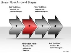 Linear Flow Arrow 4 Stages Vision Charts PowerPoint Templates