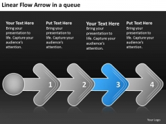 Linear Flow Arrow Queue Business Proto Type PowerPoint Templates