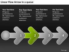 Linear Flow Arrow Queue Proto Type PowerPoint Templates