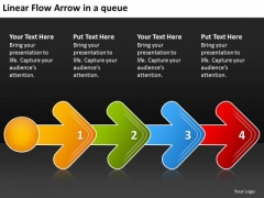 Linear Flow Arrow Queue Schematic PowerPoint Templates