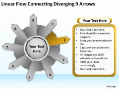 Linear Flow Connecting Diverging 9 Arrows Business Circular Spoke Network PowerPoint Slides