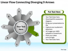 Linear Flow Connecting Diverging 9 Arrows Circular Spoke Network PowerPoint Slides