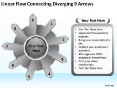 Linear Flow Connecting Diverging 9 Arrows Gear Process PowerPoint Templates