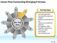 Linear Flow Connecting Diverging 9 Arrows Ppt Gear Process PowerPoint Templates